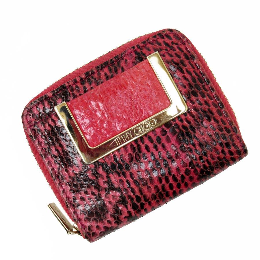 51c7acdc47c  basic popularity   used  ジミーチュウ  JIMMY CHOO  folio wallet Lady s pink x  black x gold python