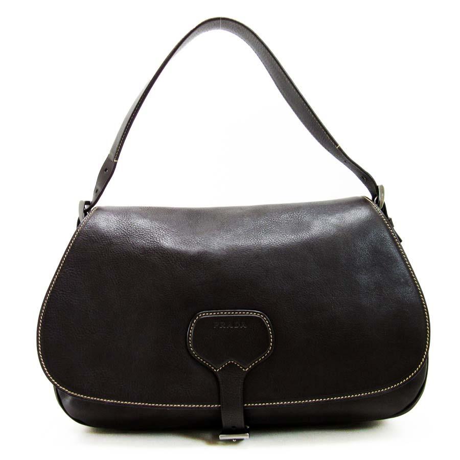 bd378d2d0ffe It is Prada  PRADA  shoulder bag Lady s dark brown leather  soot   used