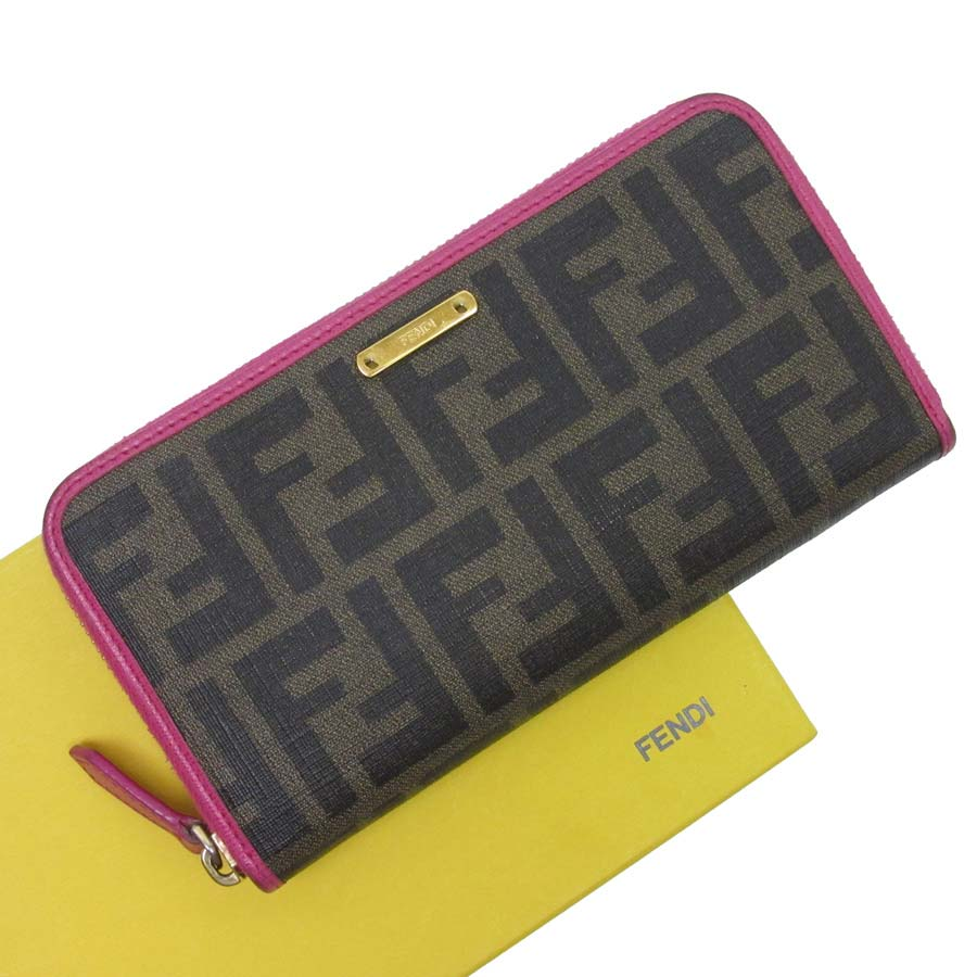 0967fd81e83  basic popularity   used  Fendi  FENDI  ズッカ pattern round fastener long  wallet Lady s brown x pink x gold PVCx leather