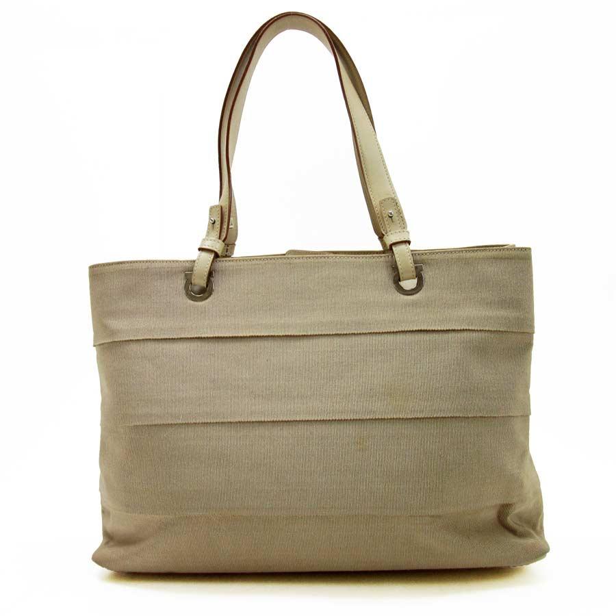 Basic Pority Used Salvatore Ferragamo Handbag Tote Bag Lady S Beige Canvas X Leather