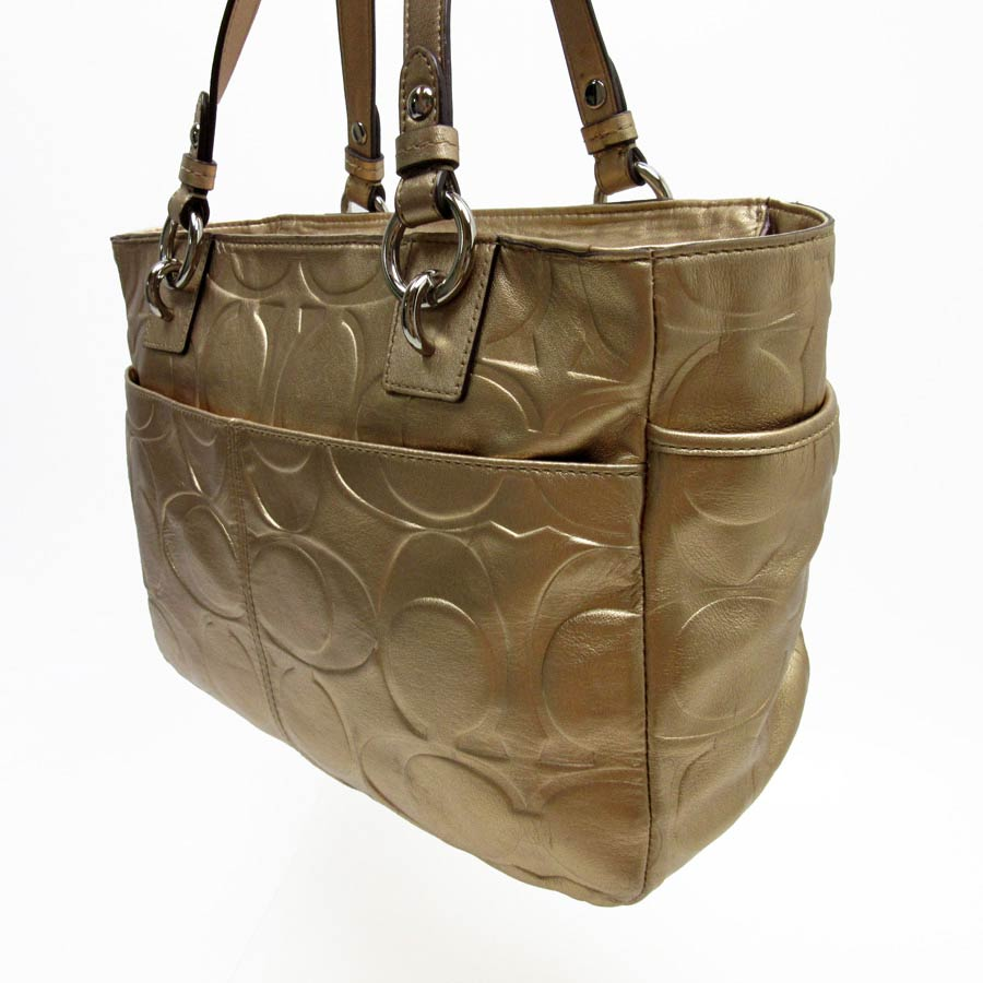2f9040646fb1 ... khaki saddle leather trim tote a46b3 094b7  netherlands basic  popularity used coach coach signature shoulder bag tote bag ladys gold  leather 1c3eb 63e94