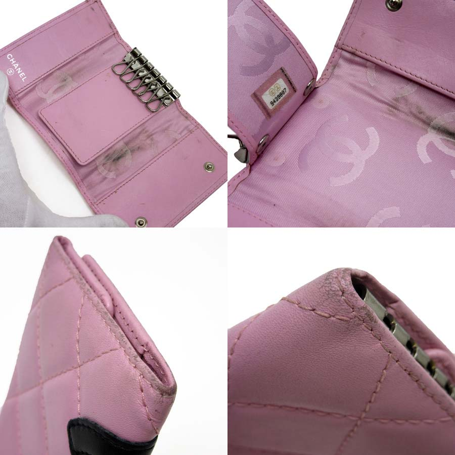 Chanel CHANEL six key case Cambon line here mark pink x black lambskin Lady's - h16521