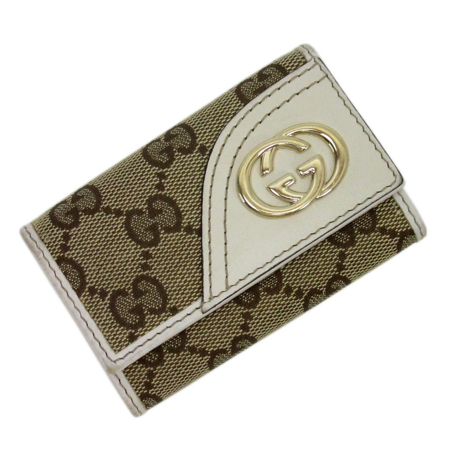 62e2f493127  basic popularity   used  Gucci  GUCCI  GG pattern six key case Lady s men  beige x white x gold canvas x leather