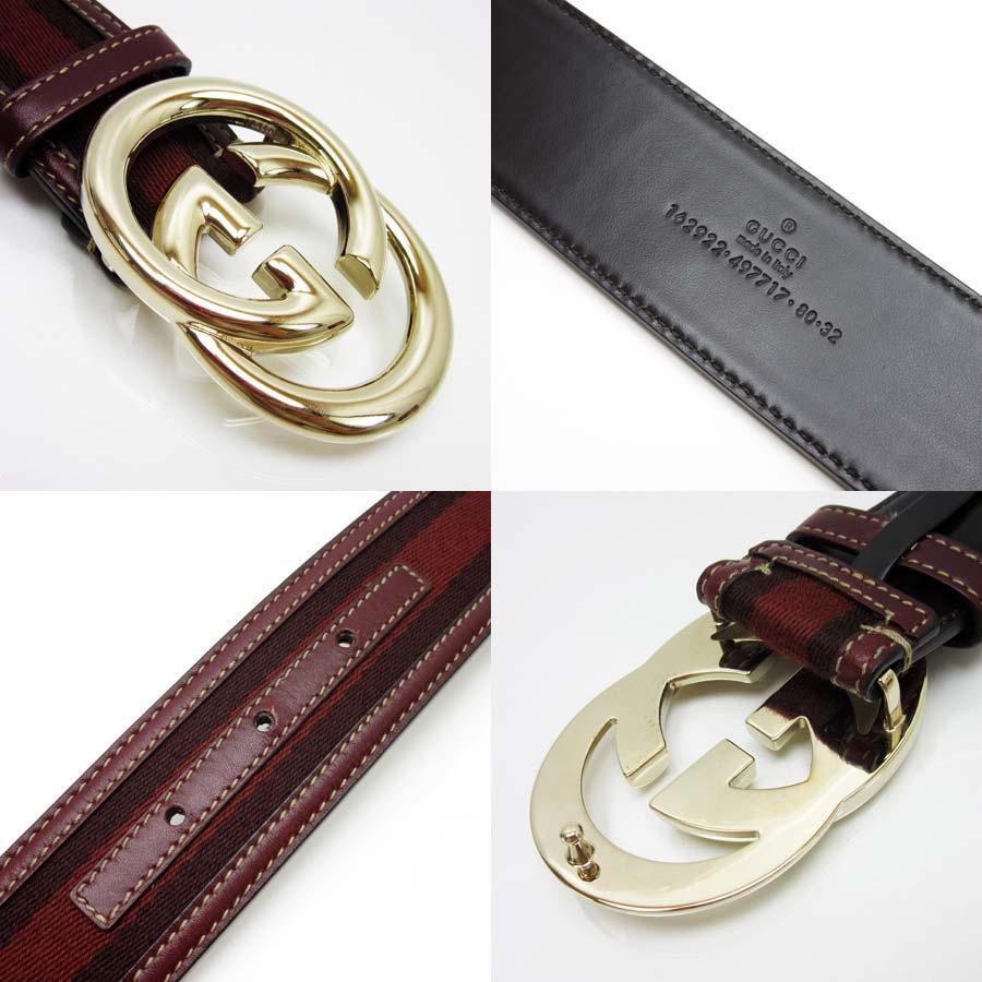 852e3b53ac5 ... Belt 80 32 Lady S. Brandvalue Leather X Canvas Metal Lady S Men T12242  Of Gucci