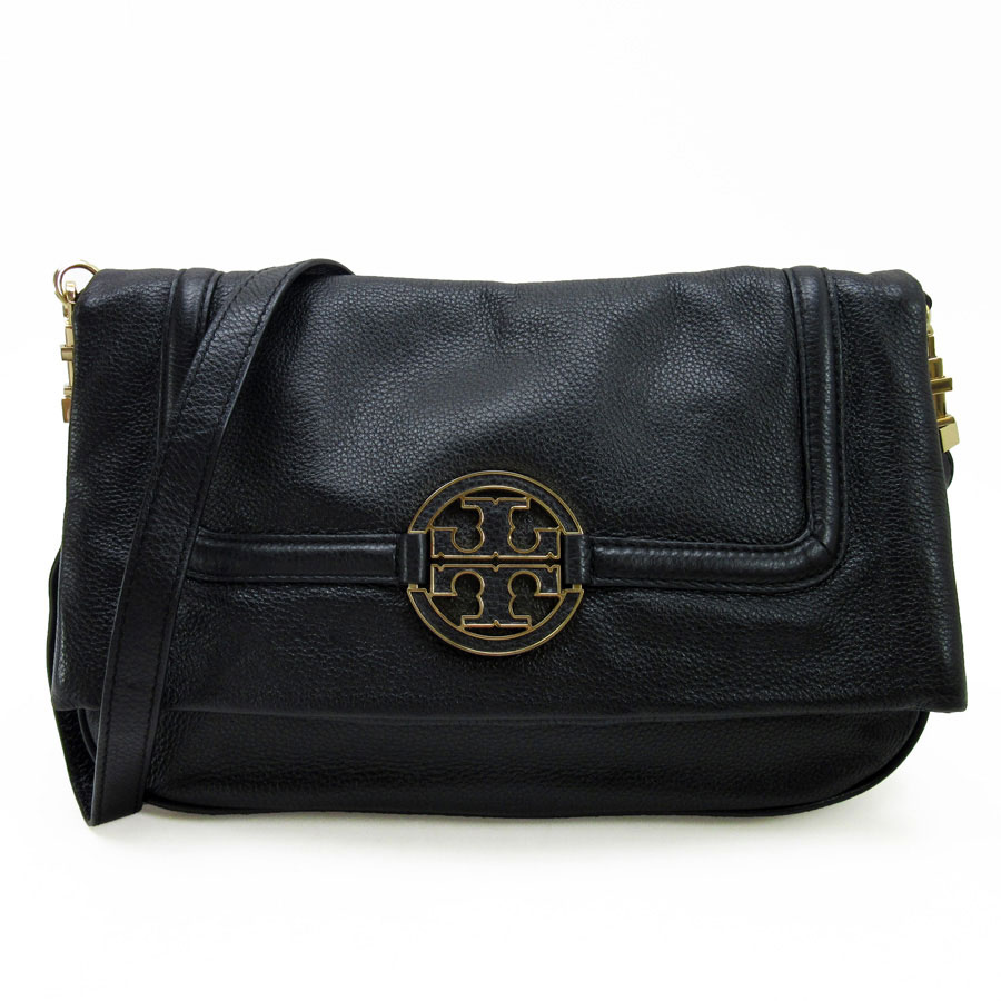 e55894b725 [basic popularity] [used] take Tolly Birch [TORY BURCH] slant; shoulder bag  2Way bag clutch bag Lady's black x gold leather