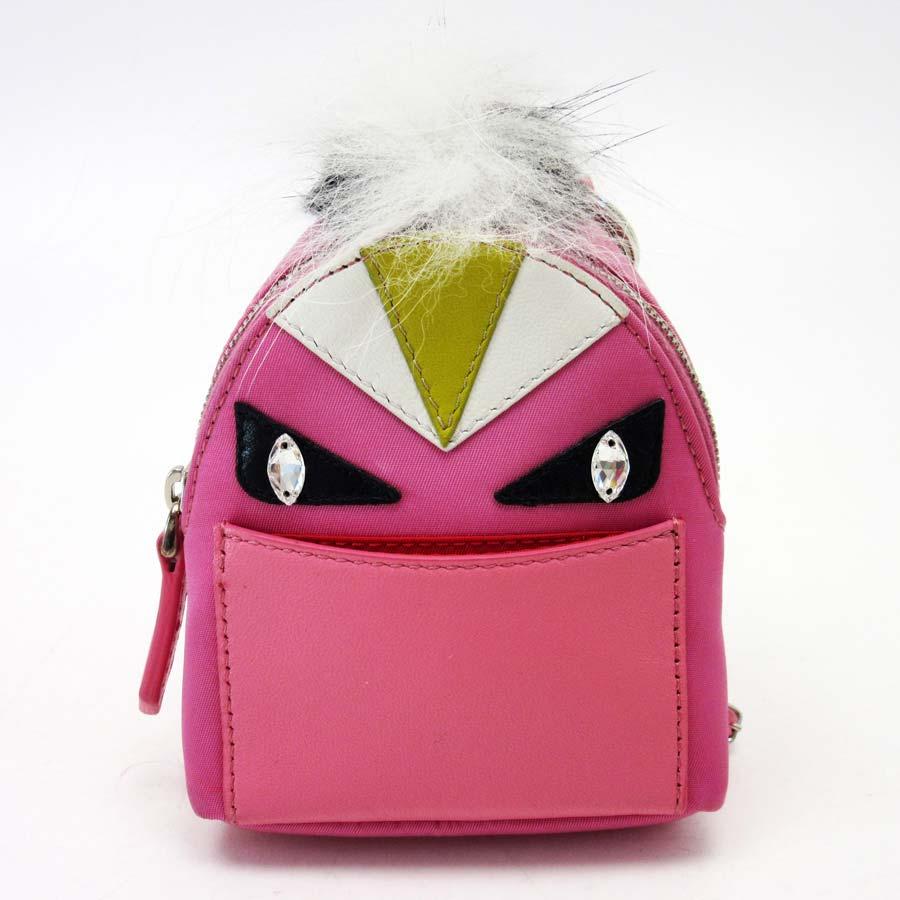 0cdb501d478a  basic popularity   used  Fendi  FENDI  bag bugs multi-case key ring charm  Lady s pink x black x white x olive leather x nylon x fur x stone