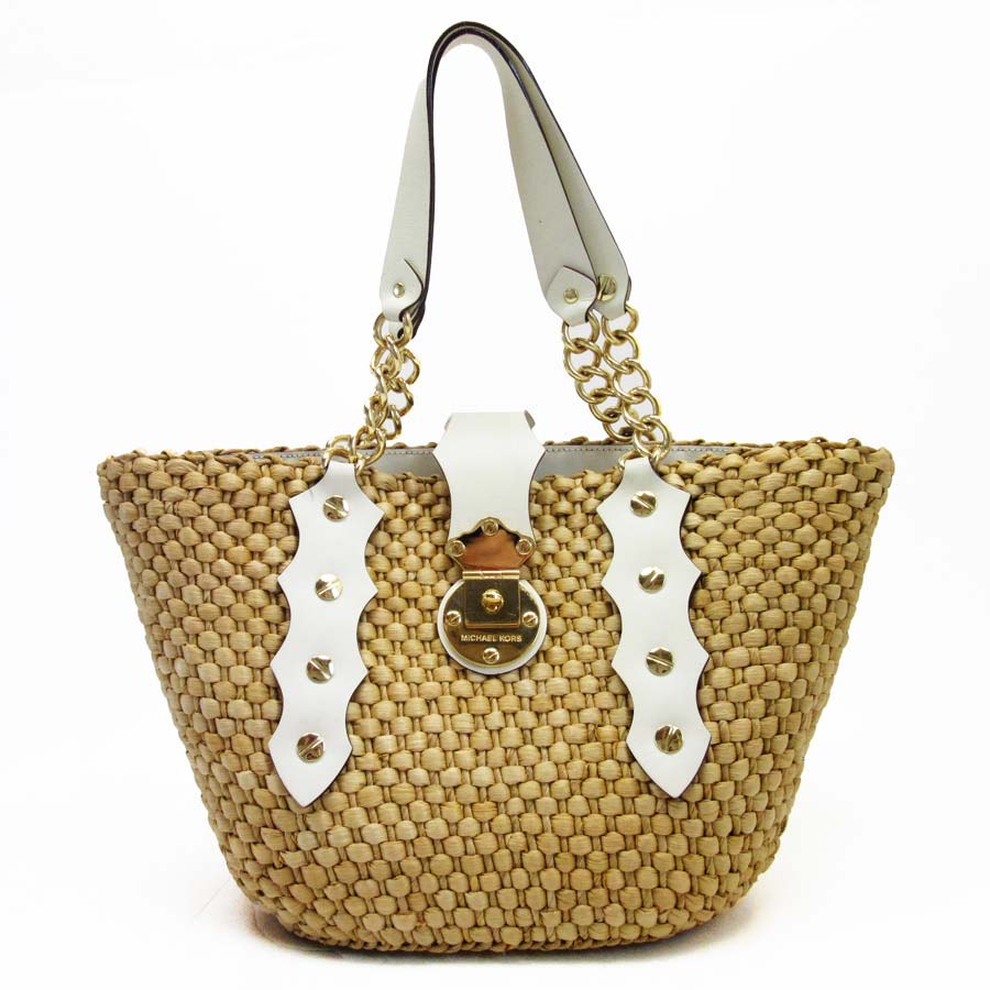 Michael Kors Shoulder Bag Straw Natural X Ivory Gold Leather Metal Material Lady S Reduction In Price Product A1122