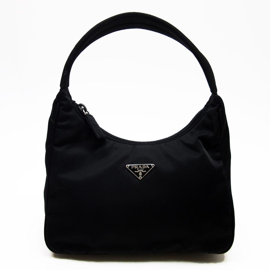 6a7d4a9d3d19  basic popularity   used  Prada  PRADA  triangle logo mini-shoulder bag mini -handbag Lady s black nylon