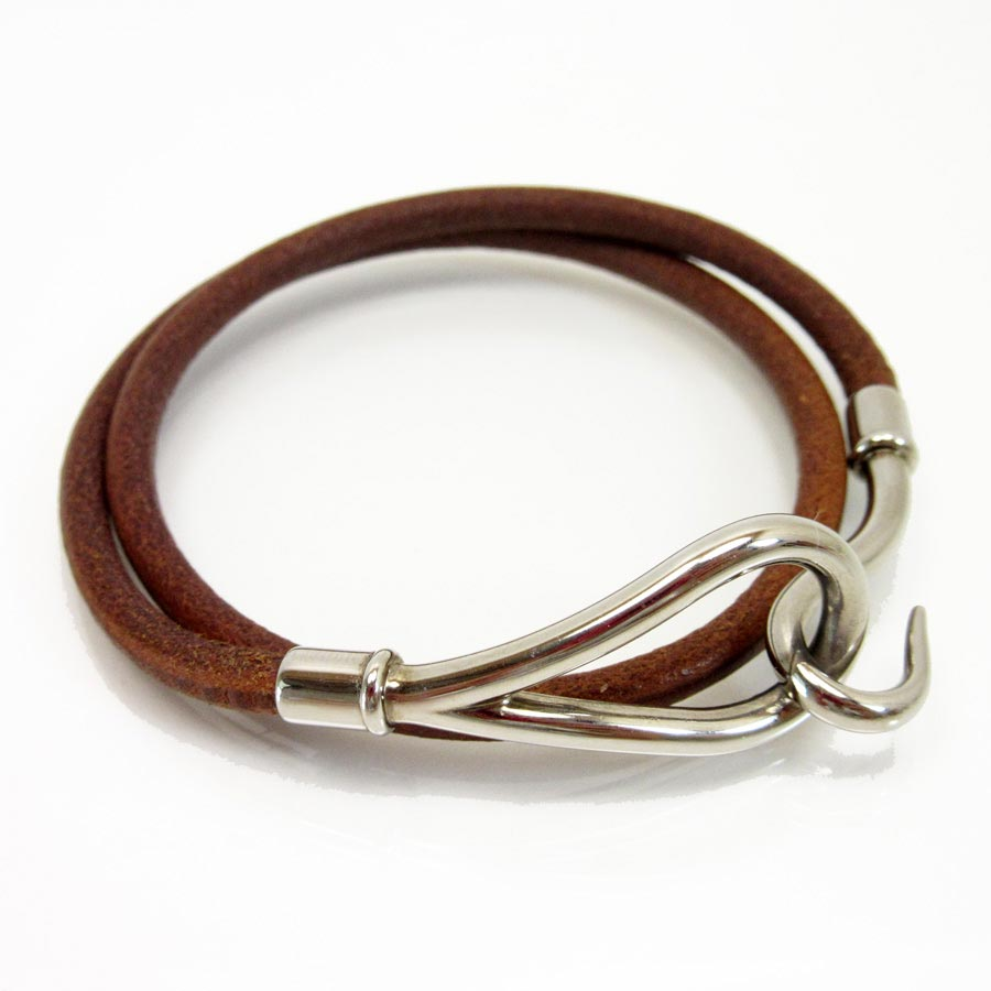 Basic Pority Used A Hermes Jumbo Hook Bracelet Lady S Men Brown X Silver Leather Metal Material