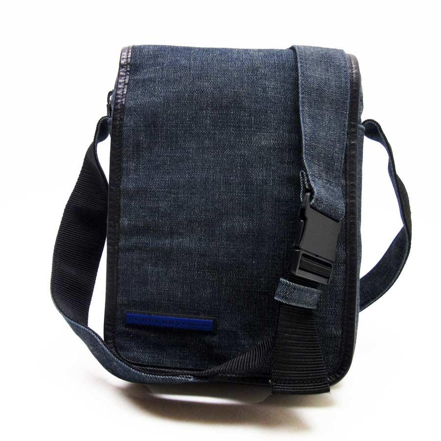 2cdc47272a  basic popularity   used  take a Burberry blue label  BURBERRY BLUELABEL   slant  shoulder bag Lady s men indigo x black denim canvas x nylon