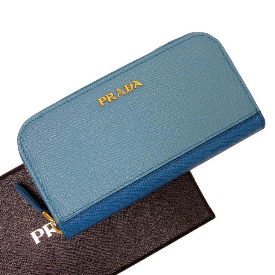 プラダ PRADA 6連キーケース ブルーxゴールド サフィアーノレザー レディース 【中古】【定番人気】 - t12411