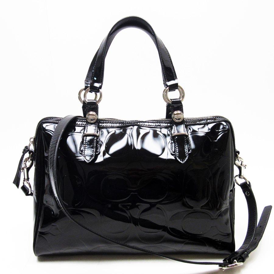 Brandvalue Coach Handbag Shoulder Bag Signature Black X Silver Patent Leather Lady S H17024 Rakuten Global Market