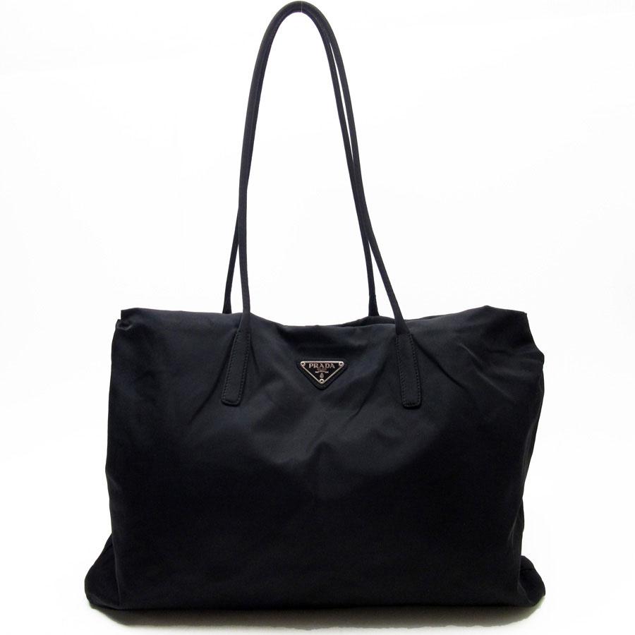 3559349388e5 BrandValue: Prada PRADA shoulder bag tote bag triangle logo black nylon  Lady's - h17075 | Rakuten Global Market