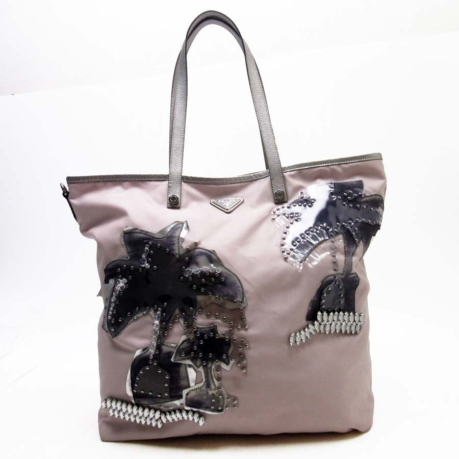 3c83b4fa31aa BrandValue: Prada PRADA shoulder bag tote bag palm tree motif triangle logo  pink x silver x gray nylon x サフィアーノレザー x stone x studs x vinyl Lady's ...