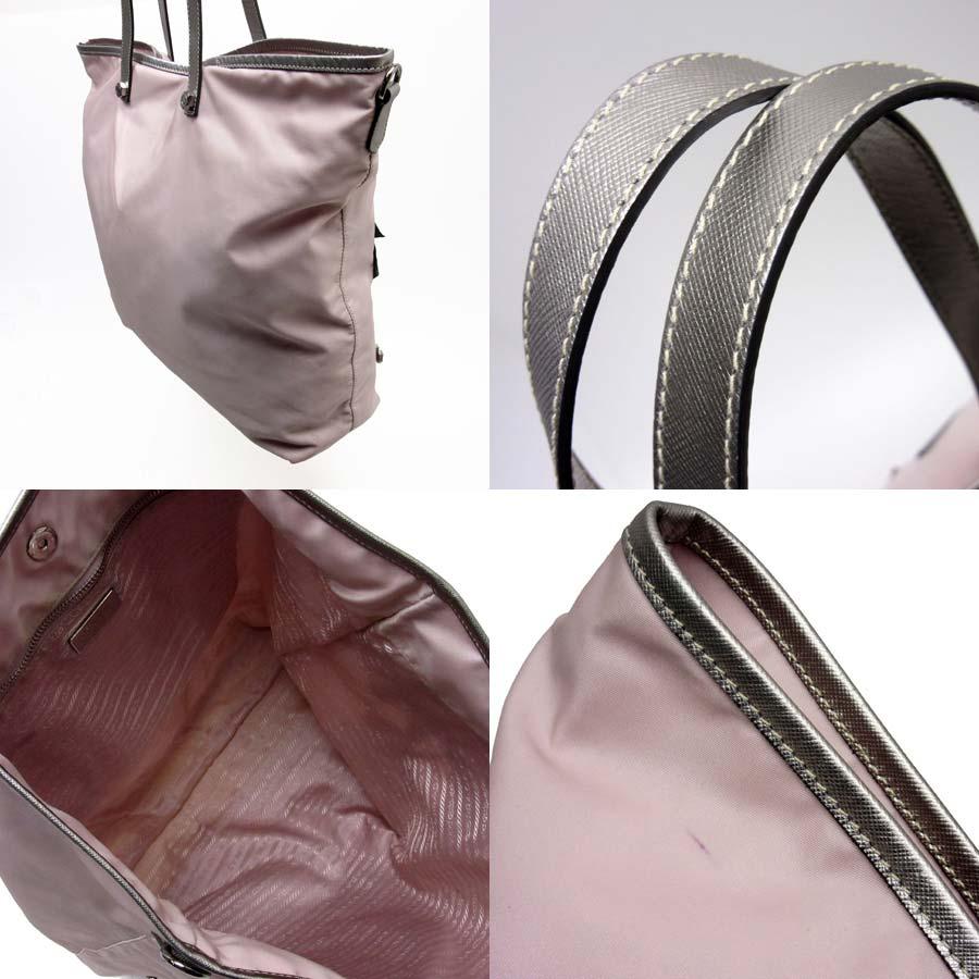 9d202ab6ee65 [basic popularity] [used] Prada [PRADA] palm tree motif triangle logo  shoulder bag tote bag Lady's pink x silver x gray nylon x サフィアーノレザー x stone  x ...