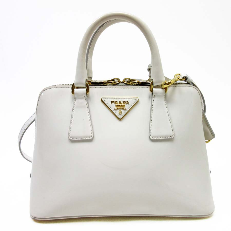 a5fcc56d5248 [basic popularity] [used] take Prada [PRADA] handbag slant; shoulder bag  2Way bag lady white patent leather