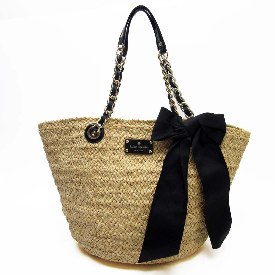 2fdb5685709a  basic popularity   used  Kate spade  kate spade  shoulder bag basket bag  lady natural x black x gold straw x leather
