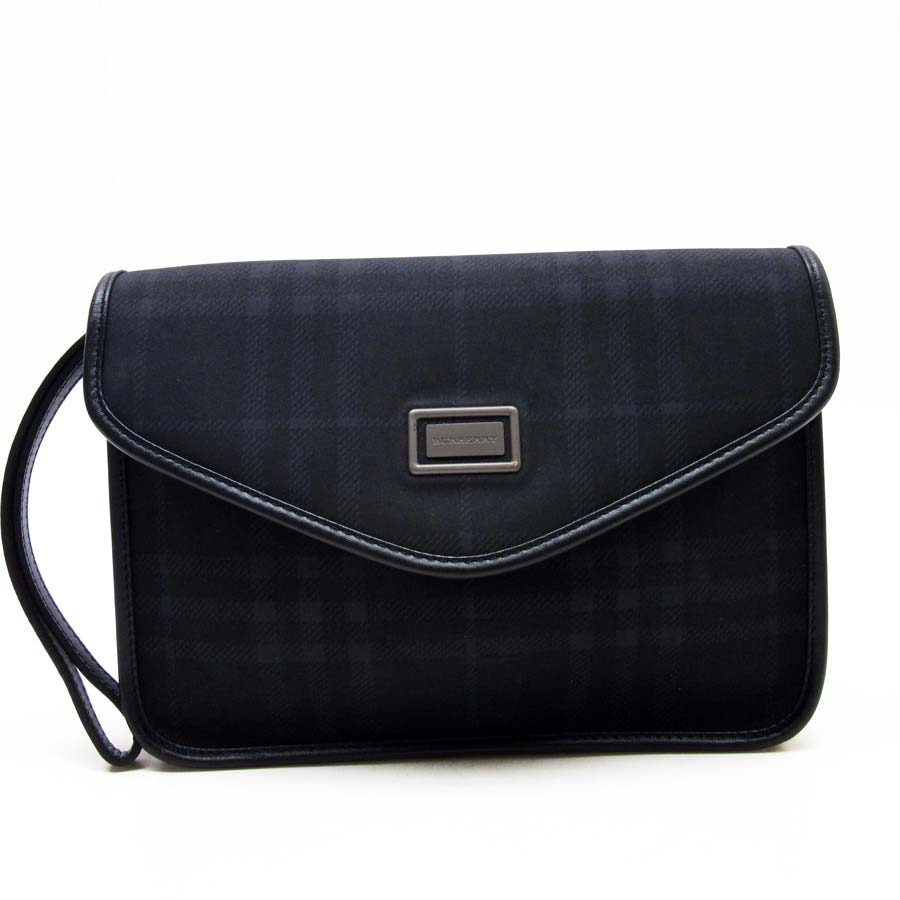 bd6186287f92  basic popularity   used  Burberry  BURBERRY  checked pattern clutch bag  second bag Lady s men black PVCx calf