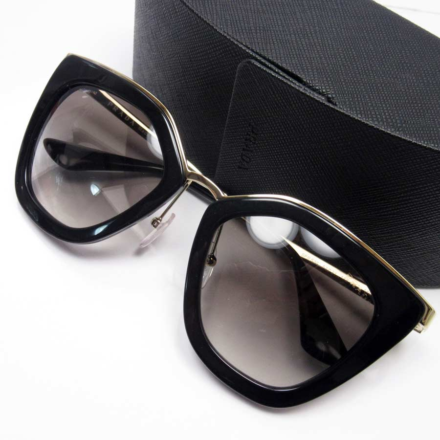 98171d46b2  basic popularity   used  a Prada  PRADA  sunglasses 52 □ 21 140 lady s  men s frame  Black x gold lens  Brown SSx plastic