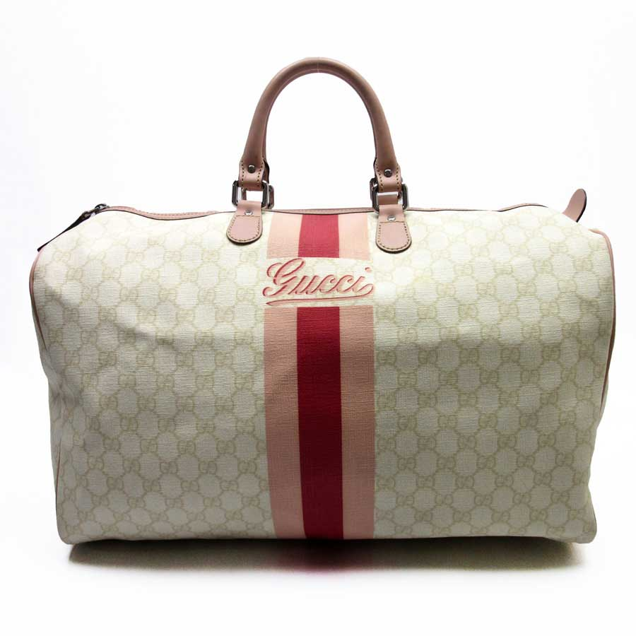 Basic Pority Used Gucci Gg Handbag Boston Bag Lady S White X Pink Red Leather