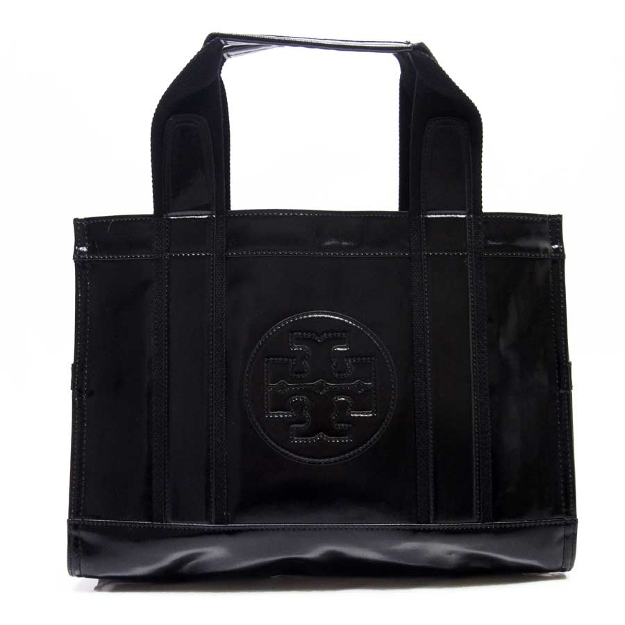 Basic Pority Used Tolly Birch Tory Burch Handbag Tote Bag Lady S Black Canvas X Patent Leather
