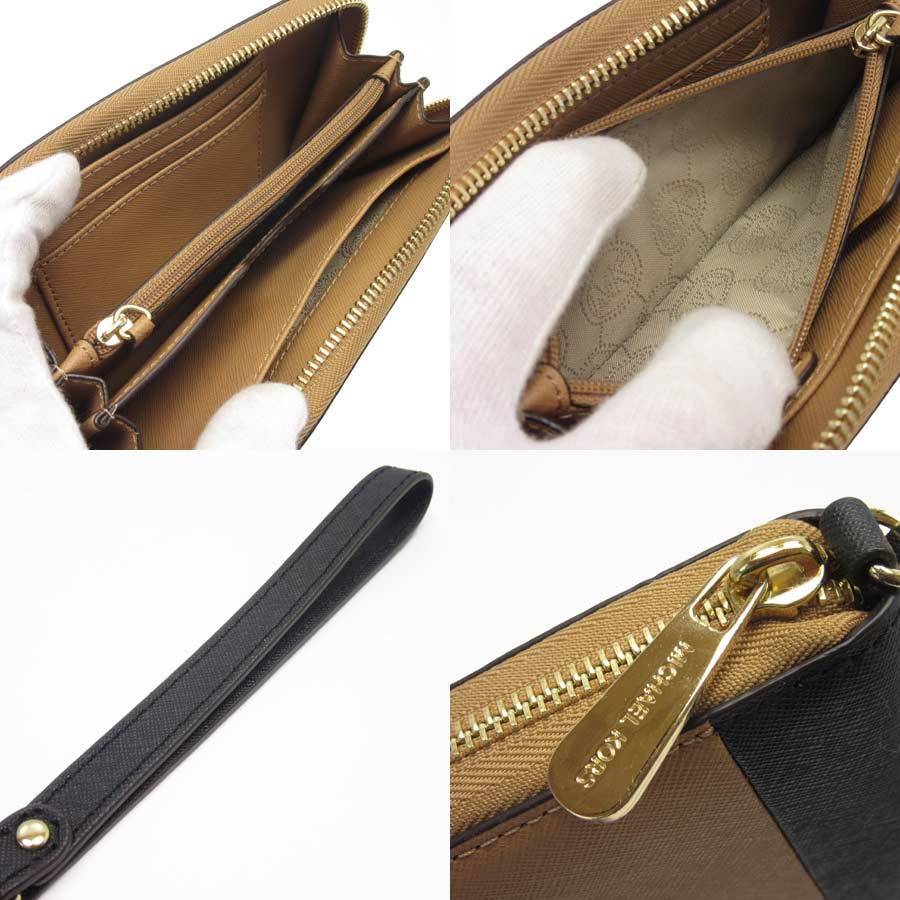 94c91e993bec51 [basic popularity] [used] Michael Kors [MICHAEL KORS] round fastener long  wallet Lady's camel x black x gold leather