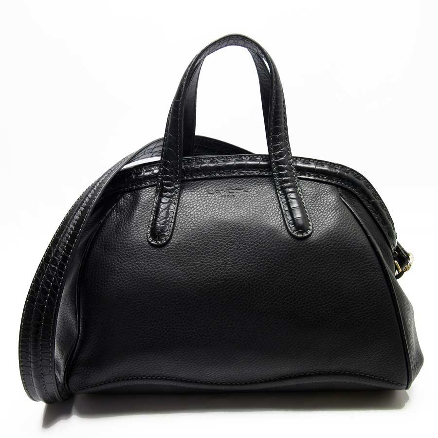 67005d4b97  basic popularity   used  Lancel  LANCEL  handbag shoulder bag 2Way bag  lady black x gold leather