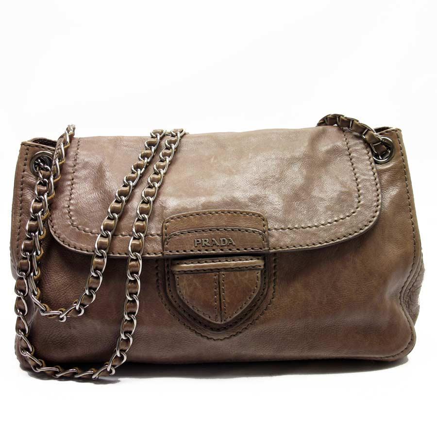 fa9b9044 Prada PRADA chain shoulder bag beige x silver leather Lady's - t12676