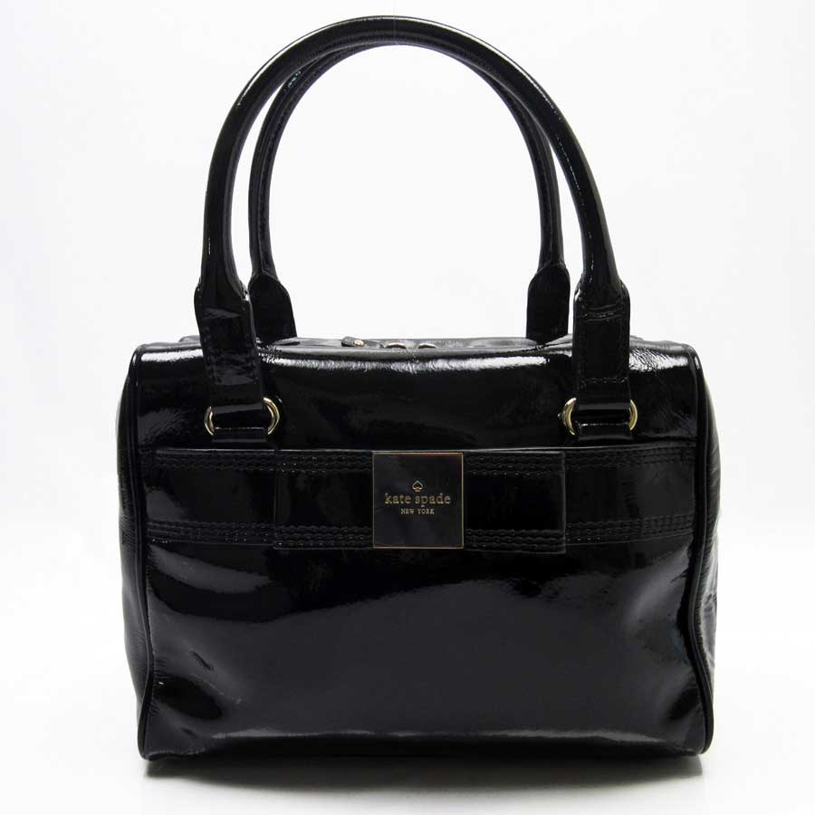 It Is Kate Spade Handbag Lady S Black Patent Leather Soot Used