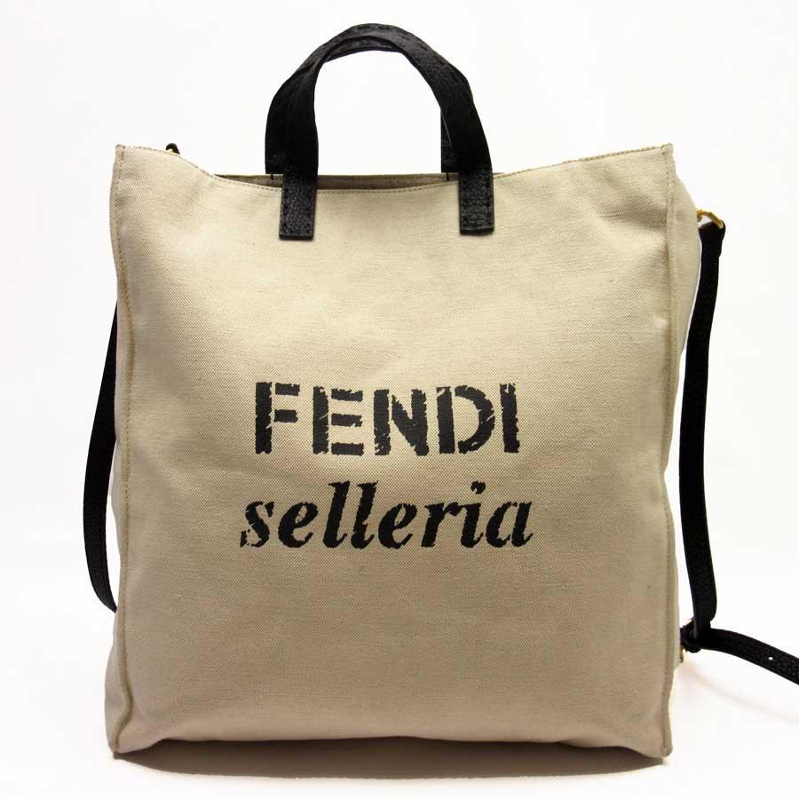 f595c0865ab BrandValue  Take Fendi FENDI handbag tote bag slant  shoulder bag 2Way bag  natural x black x gold canvas x leather Lady s men - h17813