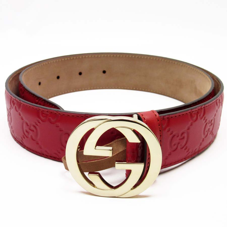 de60501b8 BrandValue: Gucci GUCCI belt (85/34) Gucci sima interlocking grip G red x gold  Gucci sima leather Lady's men - h17896 | Rakuten Global Market