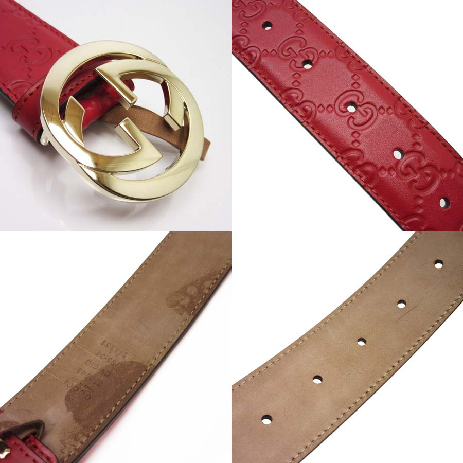 cd1f719d3f9  basic popularity   used  Gucci  GUCCI  Gucci sima interlocking grip G belt  (85 34) lady s men s red x gold Gucci sima leather