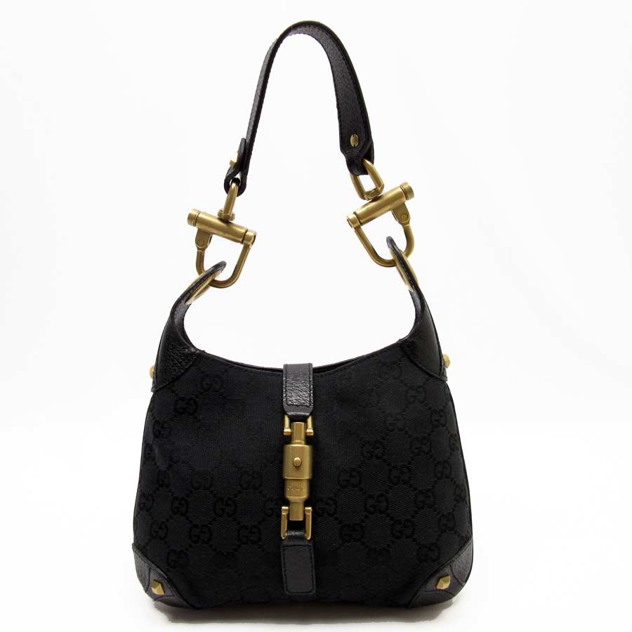 96067193719  basic popularity   used  Gucci  GUCCI  GG mini-shoulder bag Lady s black x  gold canvas x leather