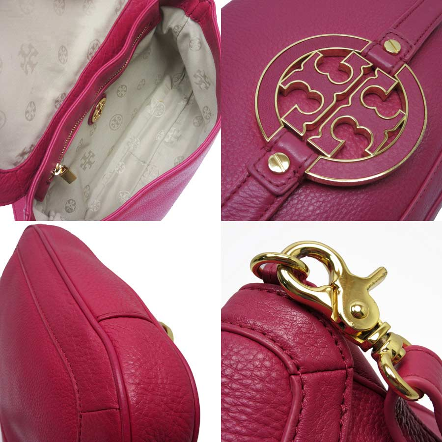 d634c54ea4 [basic popularity] [used] Tolly Birch [TORY BURCH] shoulder bag 2Way bag  clutch bag Lady's pink x gold leather