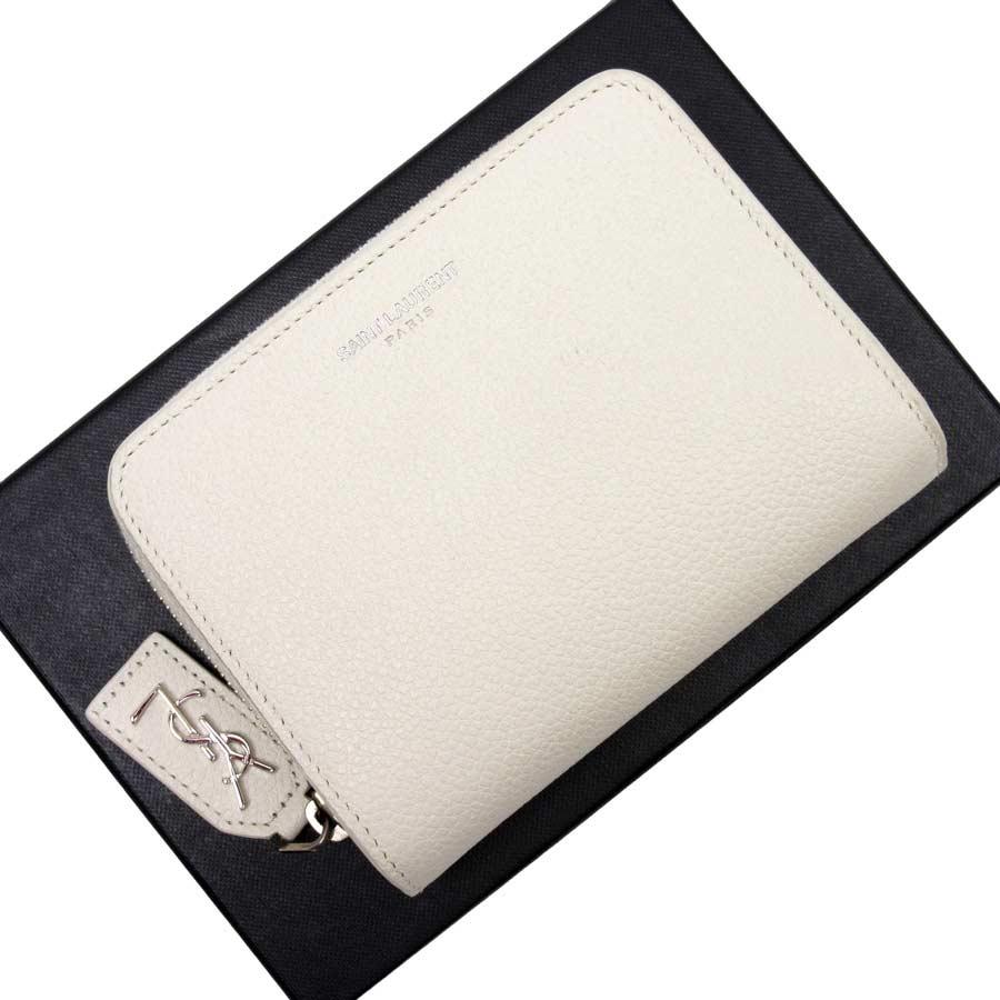 サンローラン SAINT LAURENT 二つ折り財布 オフホワイト レザー レディース 【中古】【定番人気】 - g0048