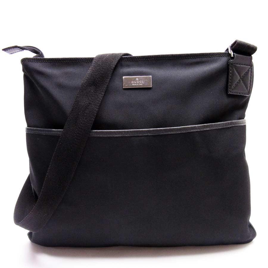 370f1219a2 BrandValue: Take Gucci GUCCI slant; shoulder bag black nylon x leather  Lady's men - g0100 | Rakuten Global Market