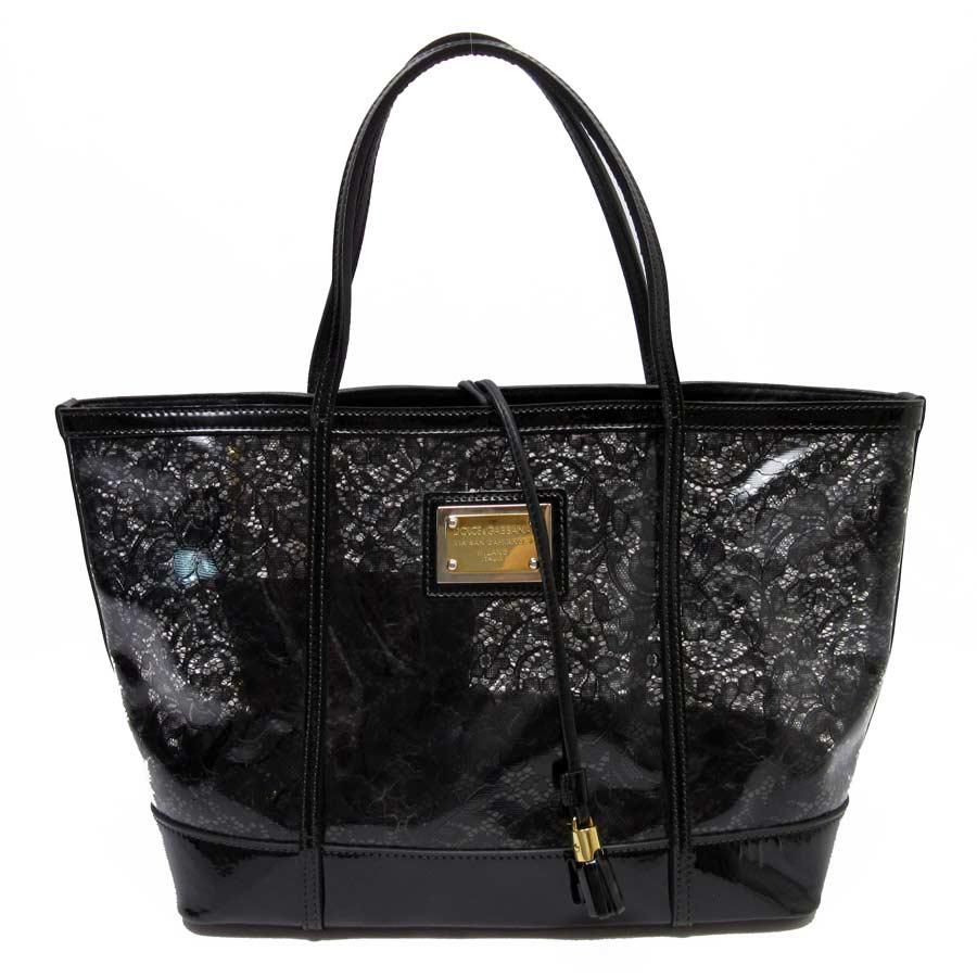 71e1b1484046 [basic popularity] [used] Dolce & Gabbana [DOLCE&GABBANA] floral design shoulder  bag tote bag Lady's clear x black x gold vinyl x patent leather