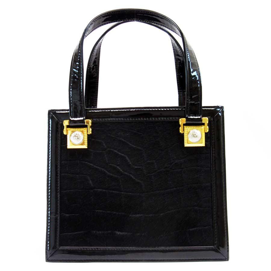 basic popularity   used  Gianni Versace  GIANNI VERSACE  handbag Lady s  black x gold patent leather x Harako d2cbb8718781a