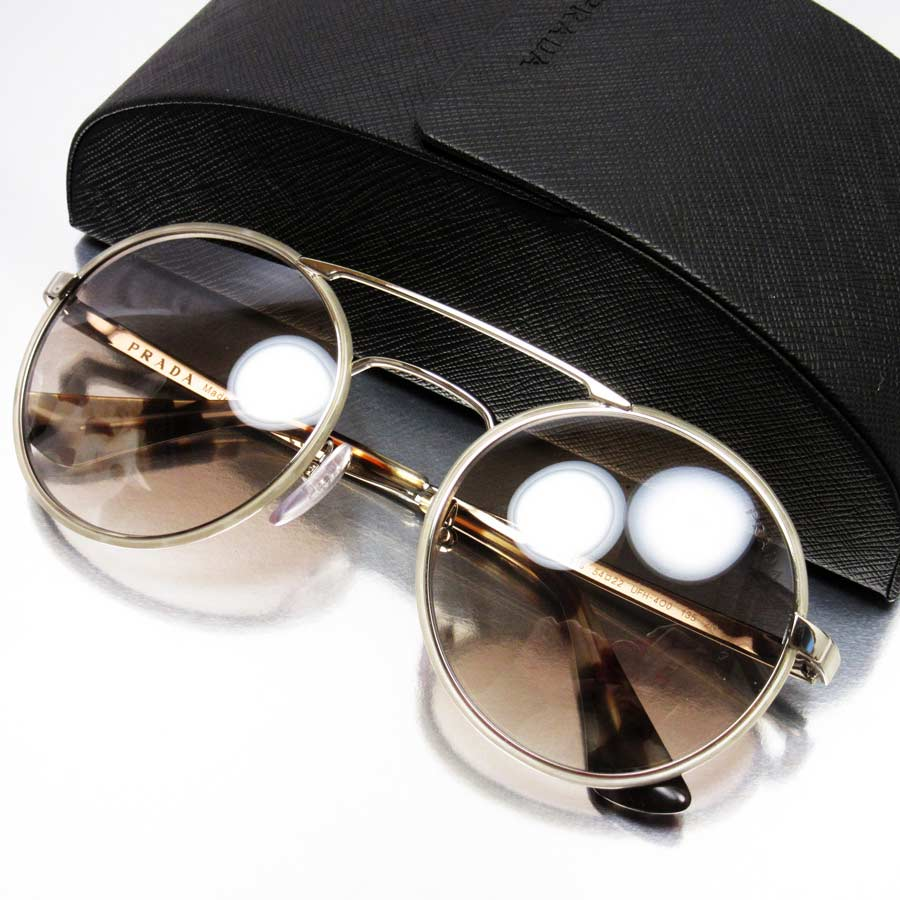 72e4b364fc  basic popularity   used  a Prada  PRADA  round sunglasses 54 □ 22 135  lady s men s frame  A silver lens  Light brown SS