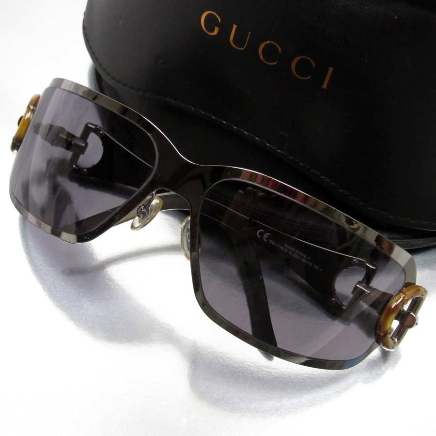 192365b5dc2  basic popularity   used  a Gucci  GUCCI  bamboo sunglasses 62 □ 15 115  lady s frame  Silver gray x natural lens  Black bamboo x metal