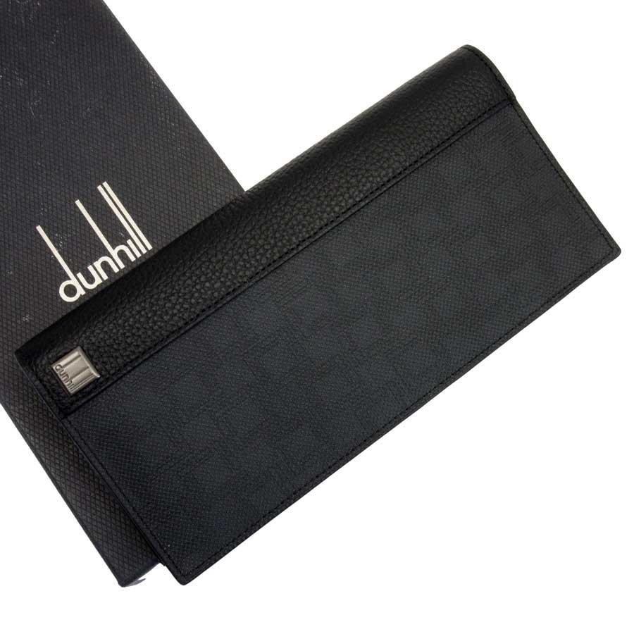 【美品】ダンヒル dunhill 二つ折り長財布 dEight ブラック PVCxレザー メンズ 【中古】 - g0195