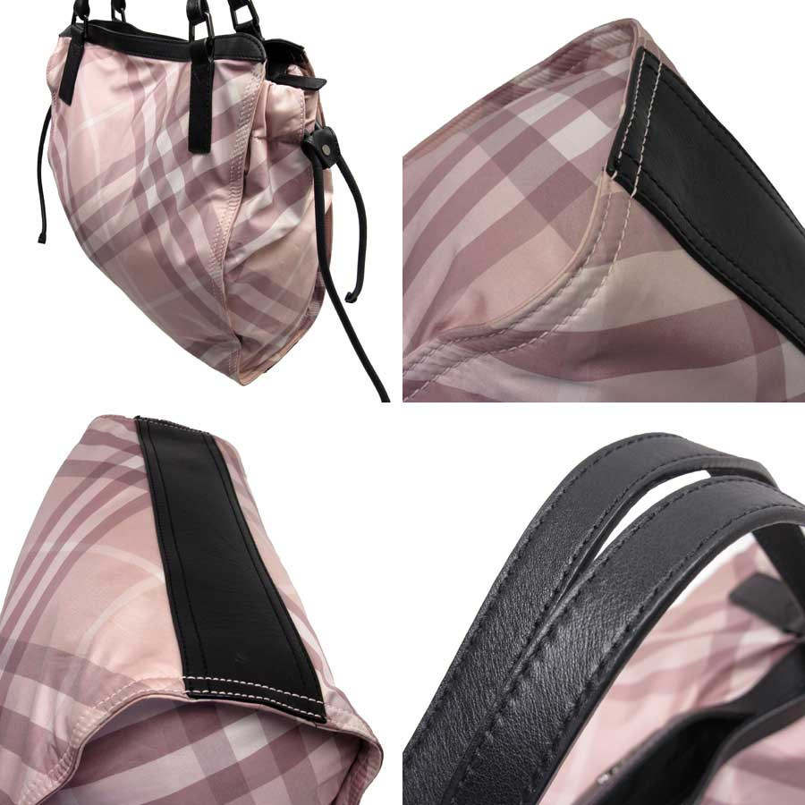 It is Burberry  BURBERRY  check shoulder bag tote bag Lady s pink x black  nylon x leather  soot   used  b40b1733d2ee4