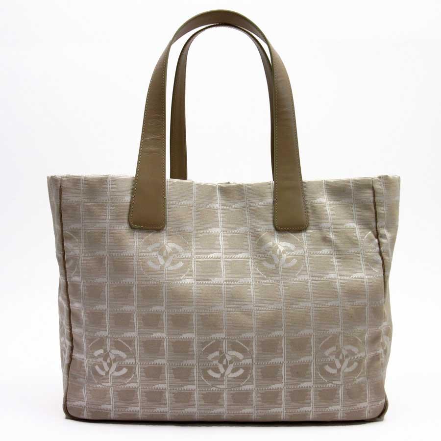 611844c620a0ed BrandValue: Chanel CHANEL shoulder bag tote bag travel line beige jacquard  canvas x leather Lady's - h18389 | Rakuten Global Market