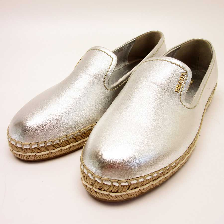 e17abfd66aa BrandValue  Prada PRADA shoes slip-ons espadrille (38) espadrille slip-ons  silver x natural leather x espadrille - h18544