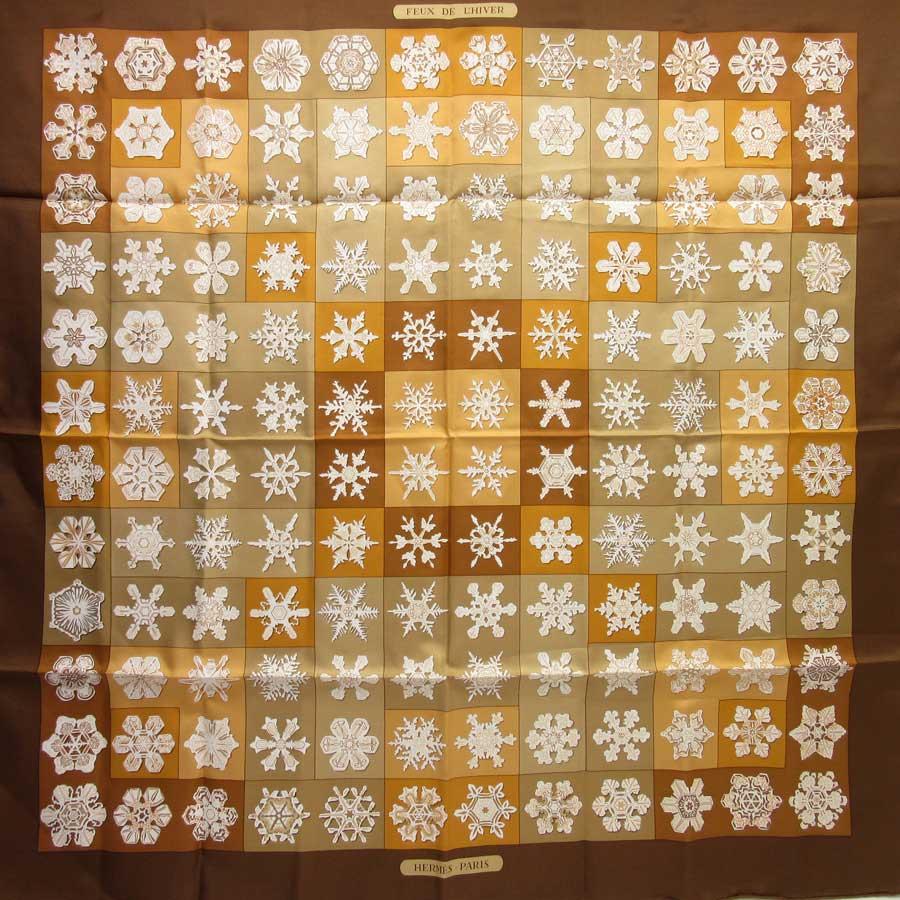 エルメス HERMES スカーフ カレ90 ブラウン系 シルク100% 【中古】【定番人気】 - h18560