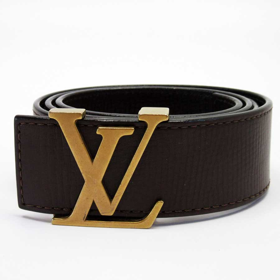8bdc97177 BrandValue: Louis Vuitton Louis Vuitton belt (85/34) Utah sun Tulle initial  dark brown x gold Utah leather men M6902 - t13124 | Rakuten Global Market