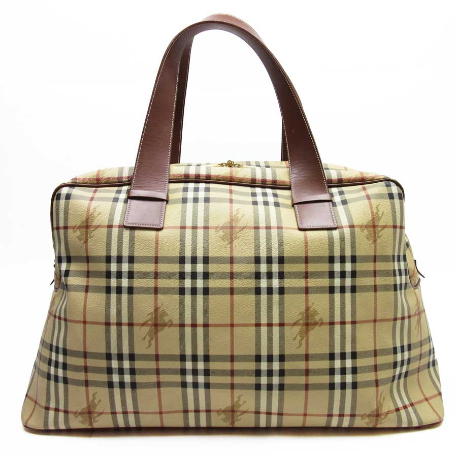 7a1b736030c9  basic popularity   used  Burberry  BURBERRY  Novacek shoulder bag Boston bag  travel bag lady men beige x brown leather