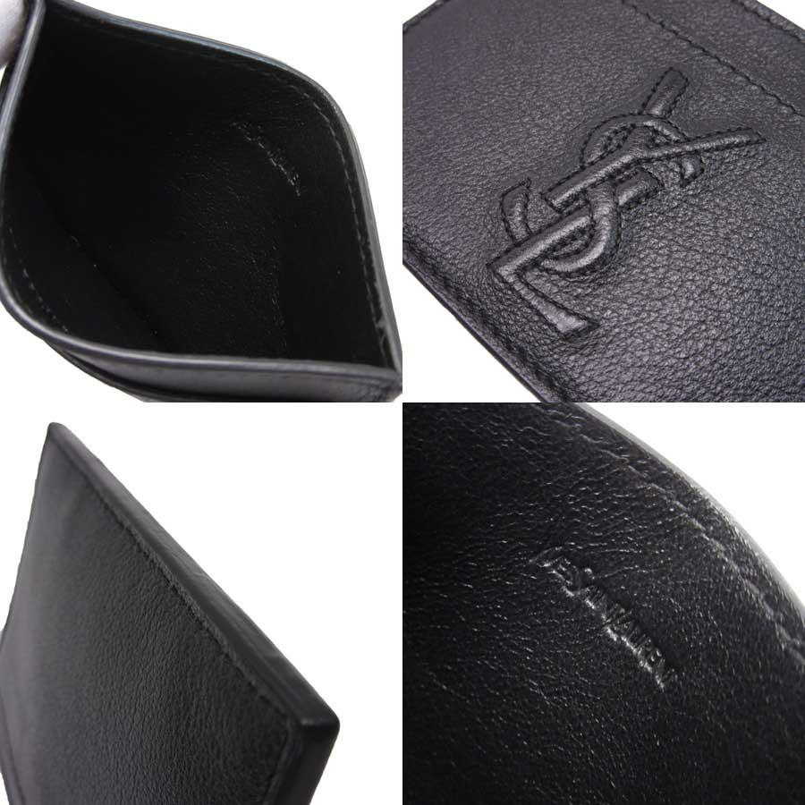 b5dfcf7fa8 Yves Saint-Laurent YVES SAINT LAURENT card case black leather Lady's men  -88,732