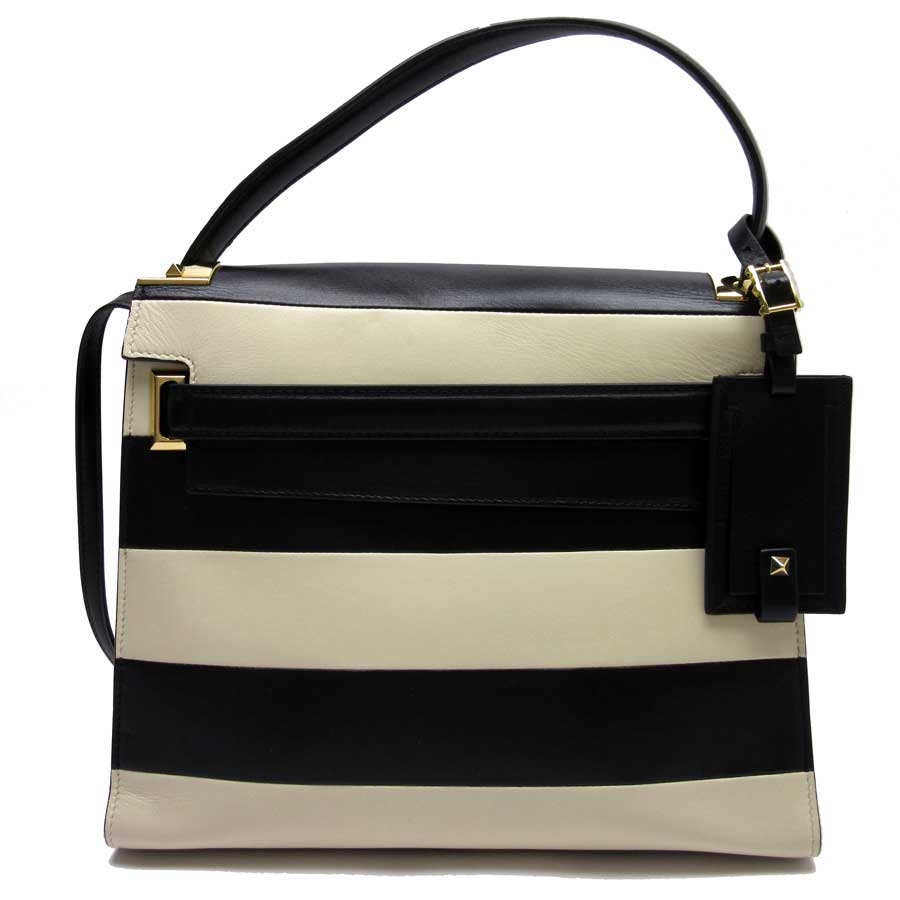 Basic Pority Used Valentino Garavani Lock Studs Handbag Shoulder Bag 2way Lady Black X Ivory Gold Leather