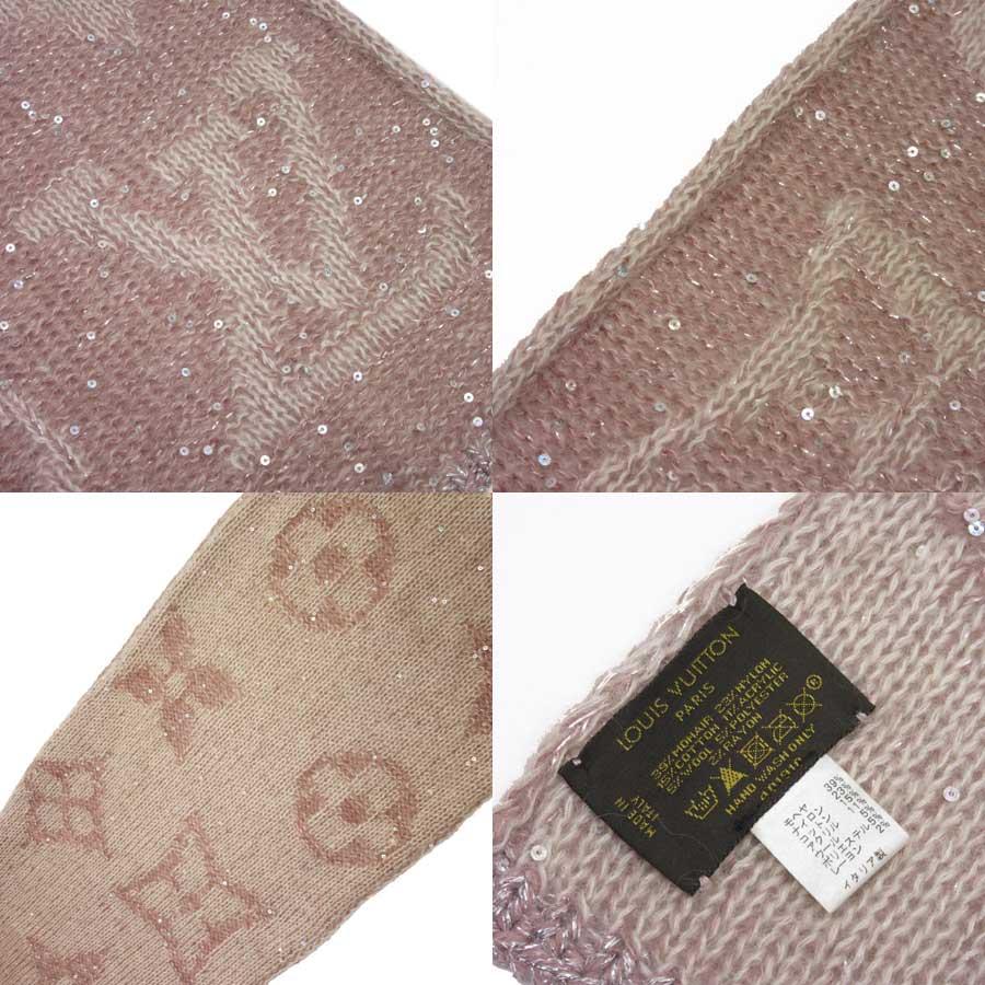 5793b107b085 ... Louis Vuitton  Louis Vuitton  monogram echarp monogram glitter scarf  Lady s pink mohair 39% nylon 23% cotton acrylic 11% wool 5% polyester 5%  rayon 2%